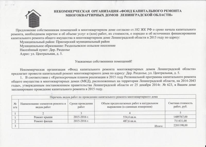Предложение собственникам помещений в многокв.доме 5