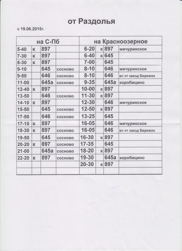 Расписание автобусов от д.Раздолье